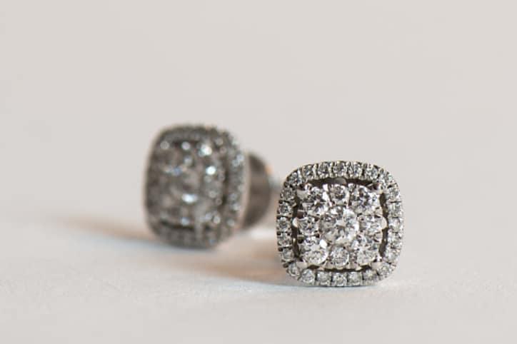 close up shot of real diamond earrings