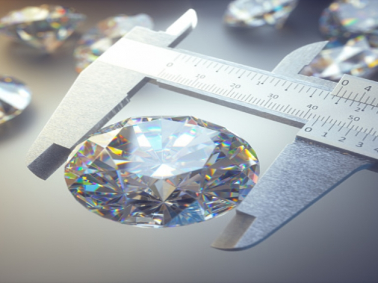 3D illustration of a huge diamond being measured by a caliper. Concept image of wealth and luxury.
